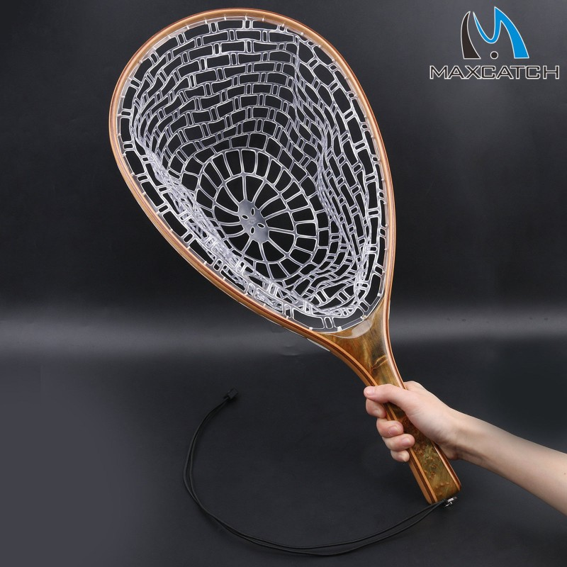 Clear rubber net release burl straight wooden handle fly for Best fly fishing nets