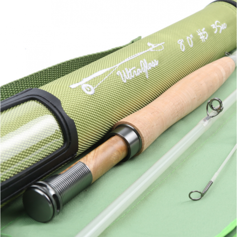 8ft 5wt 3 sections fly rod transparent fiberglass three colors fly, Fishing Reels