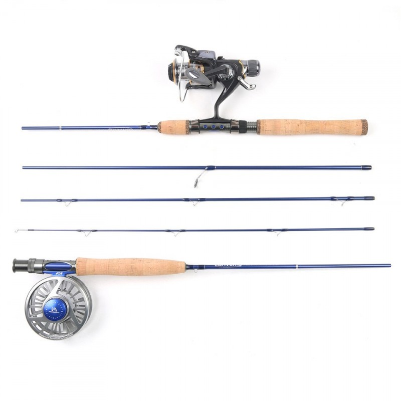 Top quality 7ft 2 1m travel spain fly rod 5wt fast action for Fly fishing with spinning rod