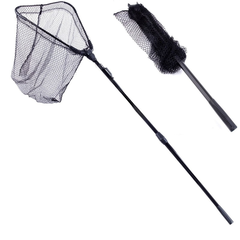 New folding fly fishing landing net with telescoping for Telescoping fishing net