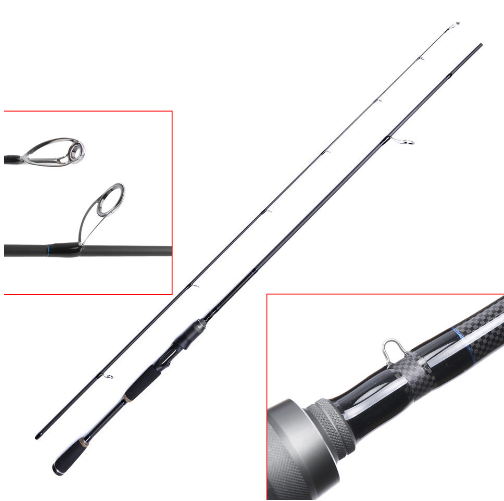 Spinning Rod 2.13M/7FT Lure Weight 1/4 oz - 3/4oz Fast Action 2 Pieces Carbon Fiber Fishing Rod