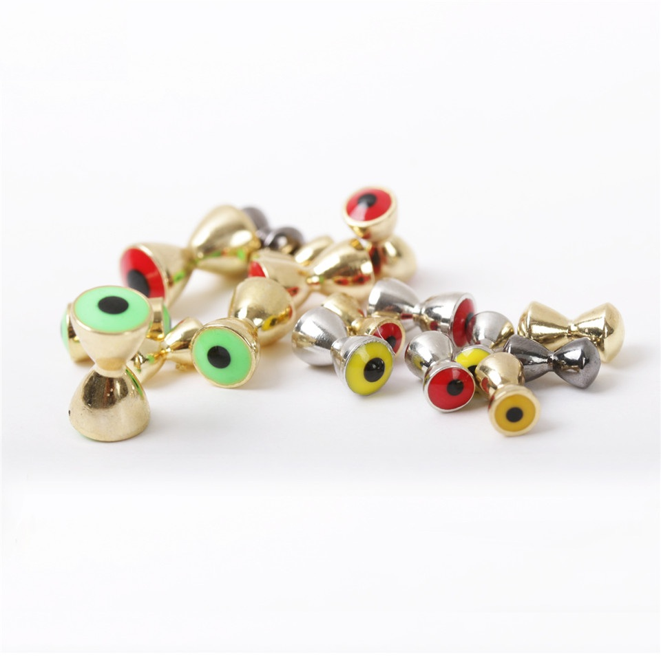 25Pcs/lot 3.2mm-6.3mm Brass Dumbbell With Eyes Fly Tying Beads Gold/Nickle/Red/Yellow/Green Fly Tying Material