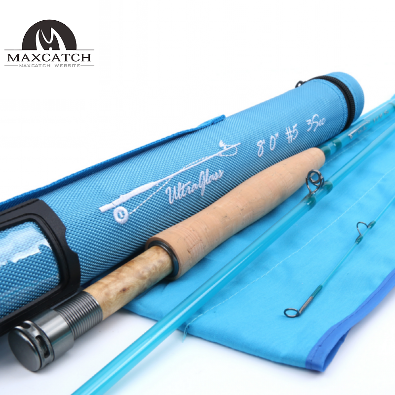 8FT /7FT Fiberglass Fly Fishing Rod With Cordura Tube Blue