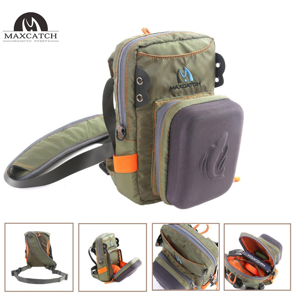 Fly Fishing Tackle Bag Chest Bag Waist Pack with Molded Fly Bench