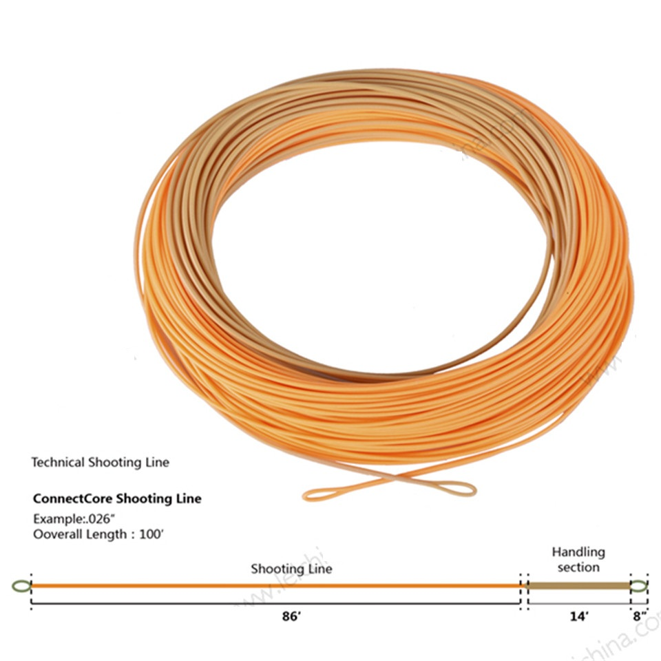 ConnectCore Shooting line 100ft Straw/Orange 30lb Floating Running Line Fly Fishing Line with 2 Welded Loops