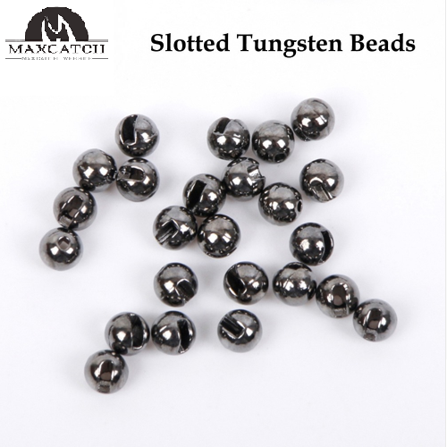 Maxcatch 25Pcs/lot Nice-Designed Slotted Tungsten Beads Fly Tying Beads Tungsten 2.4mm/2.8mm/3.3mm/4.0mm Fly Tying Material