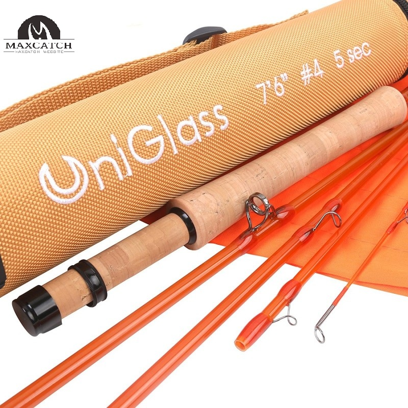 UniGlass Fly Fishing Rod Fiberglass 5 Piece Travel Rod: 7'6'' 4weight