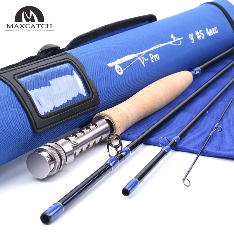 V-Pro Professional 4Piece Fast Action Graphite Carbon Fly Fishing Rod (IM10)<Lifetime Warranty>
