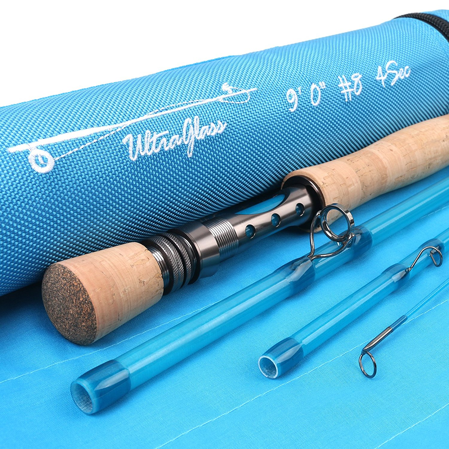 Fiberglass 8wt 9ft 4pc Crystal Blue Fly Rod