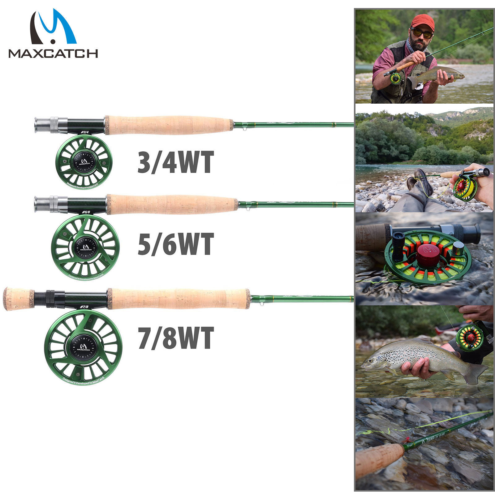 3-10WT Rod & Reel Combo Fast Action IM10 Fly Fishing Rod