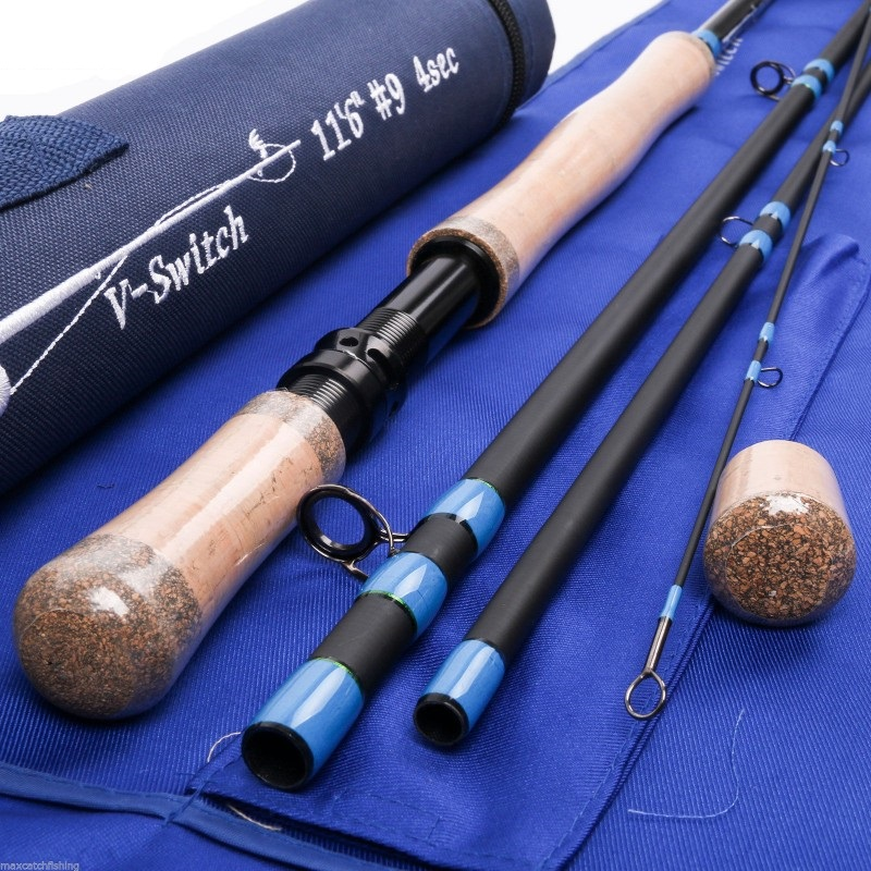 Two-handed Switchable Fighting Butt Fly Rod with Rod Case