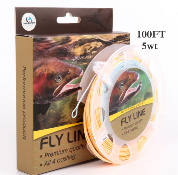 100FT 5WT Weigh Forward Floating Fly Line With Loops with box and line spool