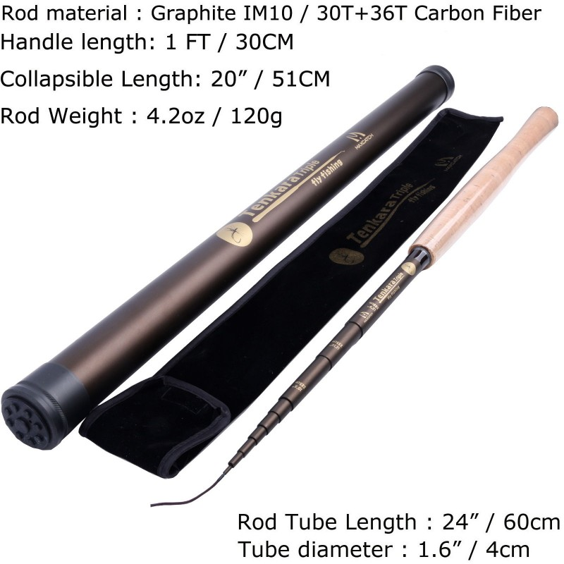 "Tenkara Fly Fishing Kit (10'8""/11'1""/12'9"") - Telescopic Tenkara Fly Rod, Line, Box & Flies"
