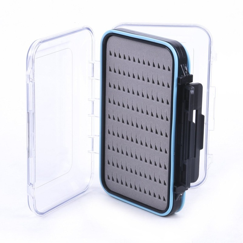 "Waterproof Double Clear Lid Easy Grip Foam Fly Fishing Box(5.8"" × 3.5"" × 1.6"")"