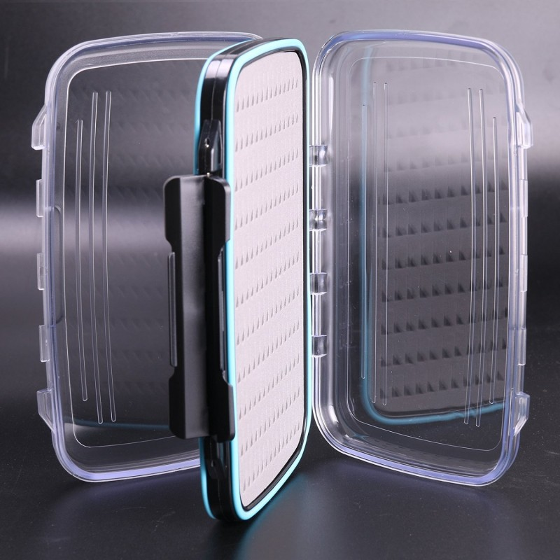 "Waterproof Double Clear Lid Easy Grip Foam Fly Fishing Box(7.3"" × 4.3"" × 1.5"")"