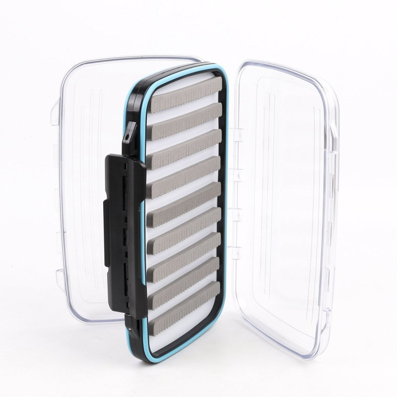 "Waterproof Double Clear Lid Slit Foam Fly Fishing Box(7.3"" × 4.3"" × 1.5"")"