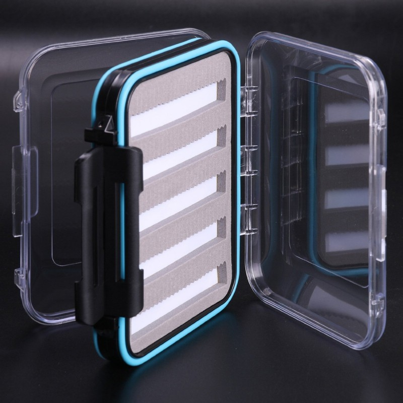 "Waterproof Double Clear Lid Slit Foam Fly Fishing Box(4.8"" × 3.5"" × 1.6"")"