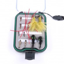 Double Side Waterproof Pocketed Fly Box Packed With 12 Pcs Fly Fishing Flies Guide's TOP Assortment