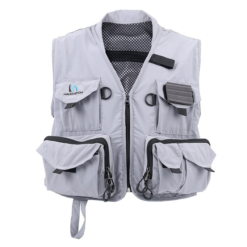 Hyfly Lightweight Mesh Fly Fishing Vest Medium/Large (Grey, Medium)