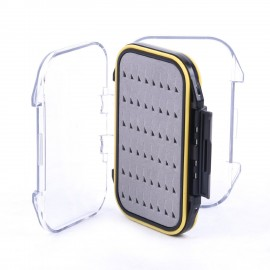 "Waterproof Double Clear Lid Easy Grip Foam Fly Fishing Box (4.2"" x 3"" x 1.3"")"