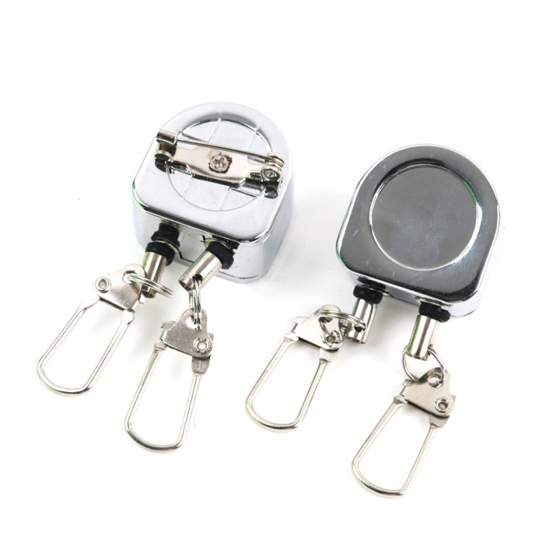 2pcs/lot AD018 Fly Fishing tool Double Retractor on Corrosion Protection Zinger Retractor Silver Color