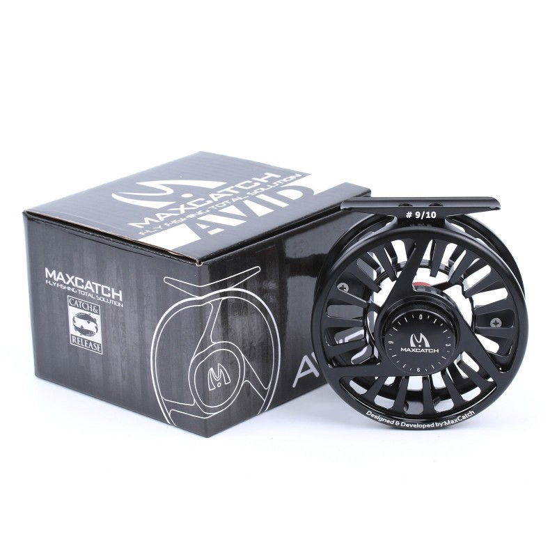 9/10WT CNC Machined Aluminum Micro Adjusting Black Fly Fishing Reel Mid Arbor