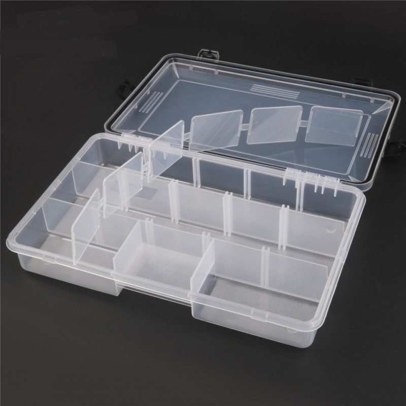 28*18*5cm Transparent Plastic 7-11 Compartments Fly Fishing Box Fishing Tackle Box
