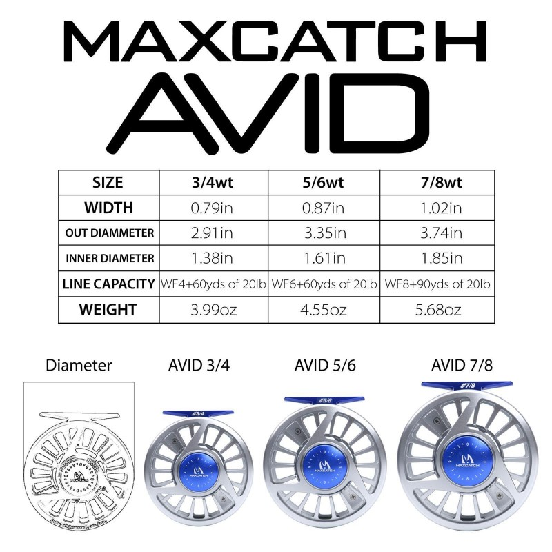 V-Feather Rod Combo 7'6'' 3WT 4Sec IM10 Fly Rod+AVID CNC Machined Fly Reel <10 Years Warranty>