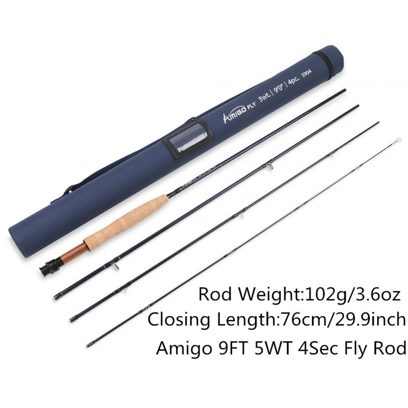 High Quality 5WT Fly rod 9FT Carbon Fiber Fast Action Amigo Fly Fishing Rod with Cordura Tube