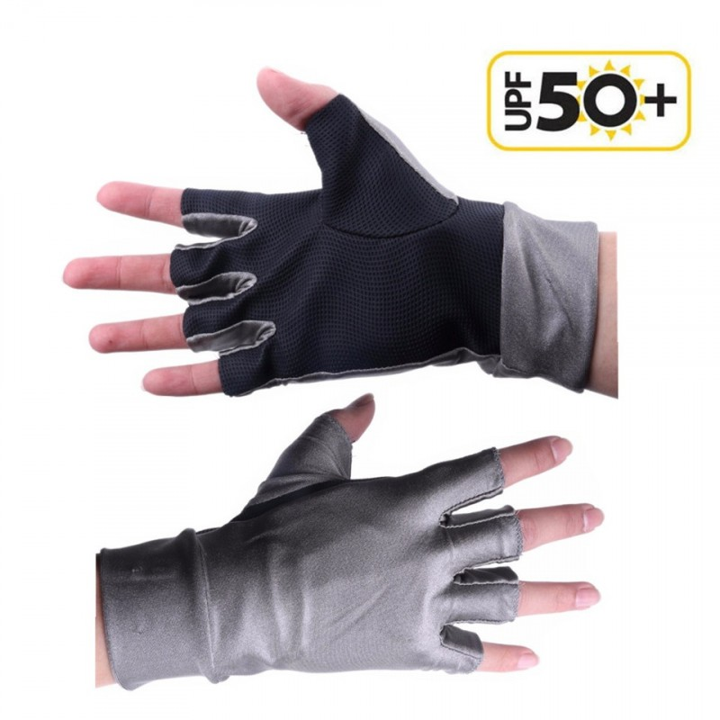 New One Pair Anti-UV Fingerless Fly Fishing Gloves Outdoor Fishing Gloves
