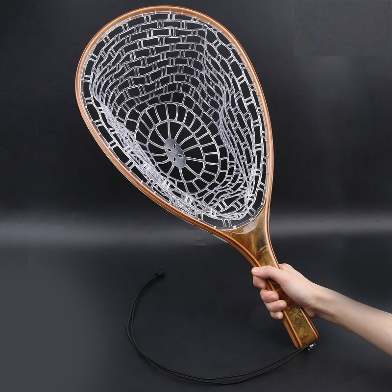Clear Rubber Net & Release Burl Straight Wooden Handle Fly Fishing Landing Net