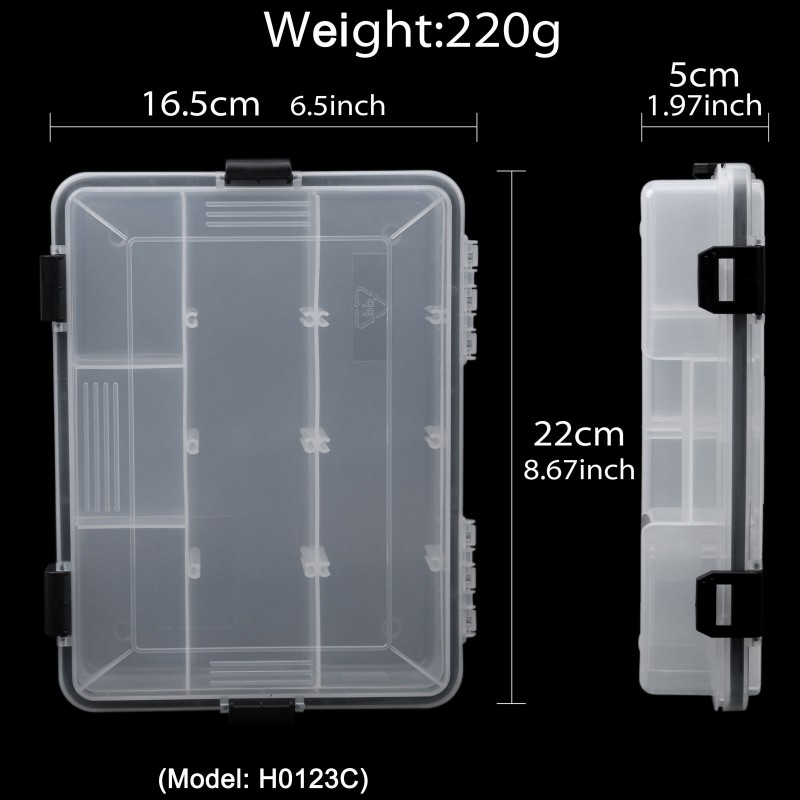 Compartment Fishing Lure Box Slots Adjustable Hard Plastic Hook Jig Tackle Boxes