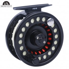 Explorer Large arbor Fly reel with spooled fly fishing line (Black Lightweight Polymeric body)