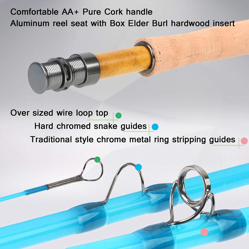 8FT /7FT Fiberglass Fly Fishing Rod With Cordura Tube Translucent