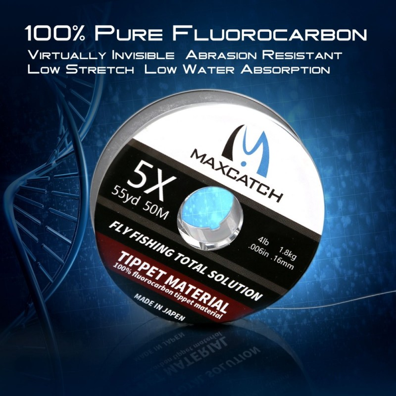 100% Pure Fluorocarbon Fly Fishing Leader Tippet Material 50M