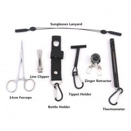 Fly Fishing Accessory Combo Fishing Forceps&Zinger Retractor&Line Clipper&Bottle Holder&Tippet Holder&Thermometer