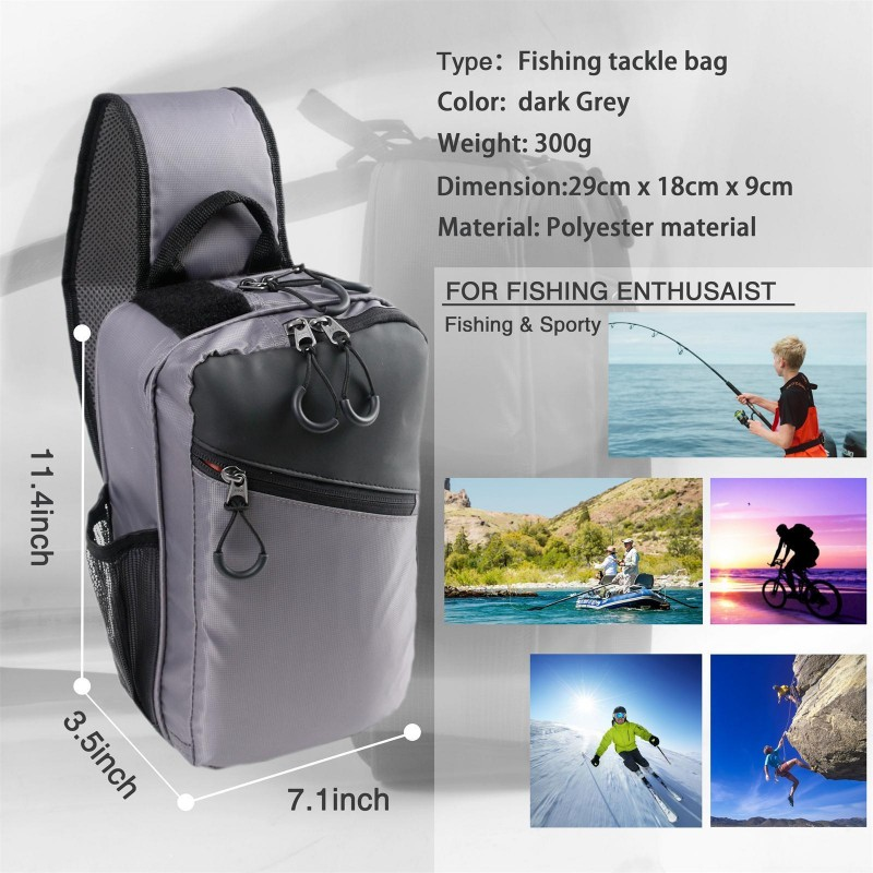 Fly Fishing Sling Pack Sling Shoulder Bag With Fly Patch Multi Function