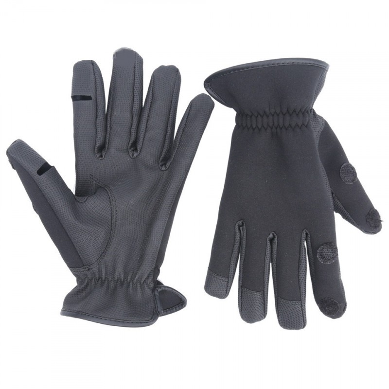 Neoprene Fishing Gloves Elastic Waterproof Anti-Slip Fishing Gloves Black