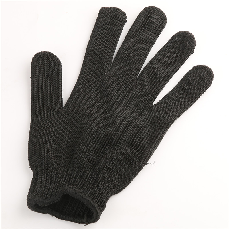 2 Pieces Black Fishing Stainless Steel Fillet Glove Cut Resistant Glove