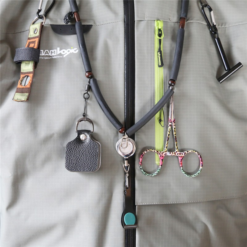 High Quality Fly Fishing Lanyard with Zinger Tippet Holder Line Nipper Forceps Bottle Holder Fly Fishing Accessory