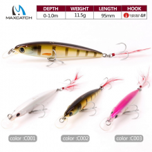 New Minnow Bass Fishing Lures Crankbait Minnow Fishing Lures With VMC Hooks and Feather