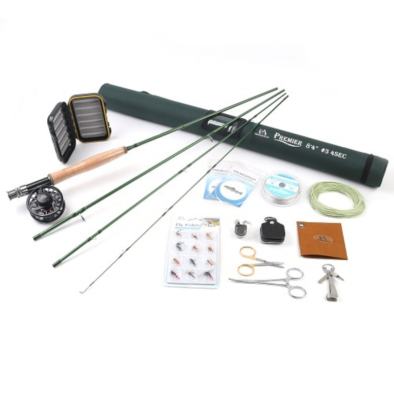 Premier Fly Fishing Rod + Black Avid fly reel with 7tools whole combo