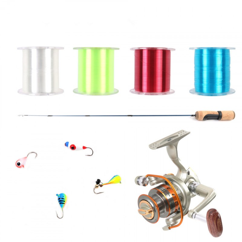 IM7 Ice Fishing Rod 9+1BB Ice Spinning Reel 450m 4 Colors Nylon Line Fishing Rod & Reel & Line & Hooks Combo
