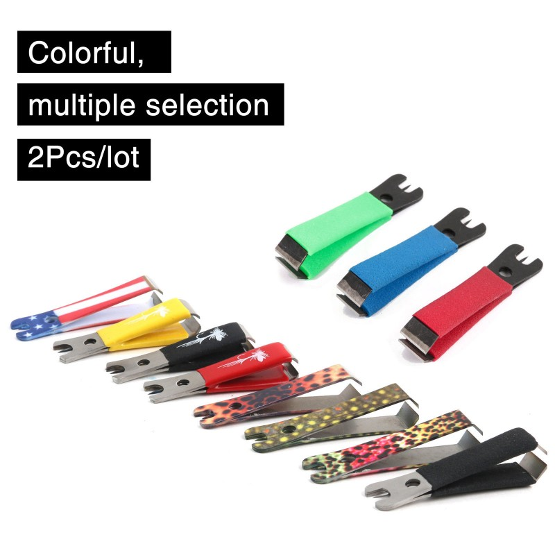 2Pcs/Lot Fly Fishing Nippers Stainless Steel Line Cutter Clipper Various Colors