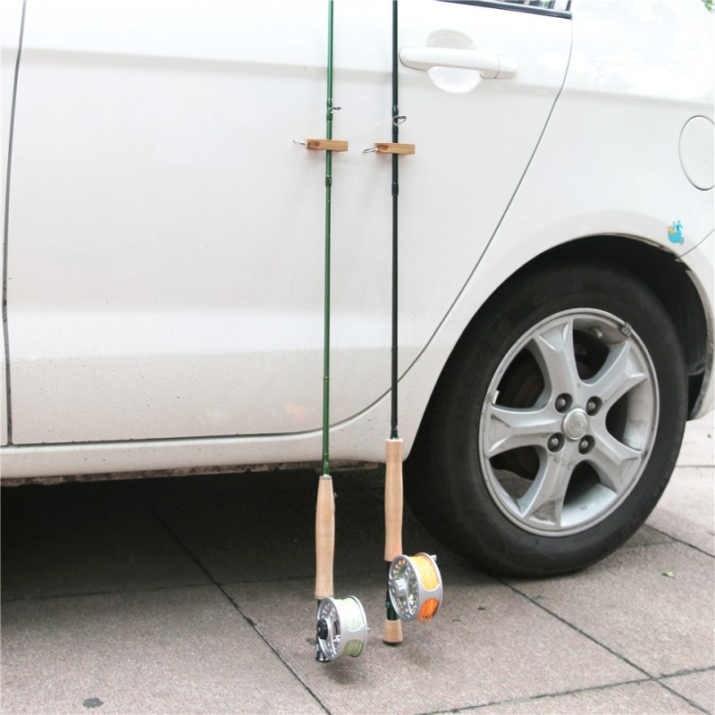 2pcs/lot Portable Bamboo Fly Fishing Magnetic Rod Guard Fishing Rod Holder