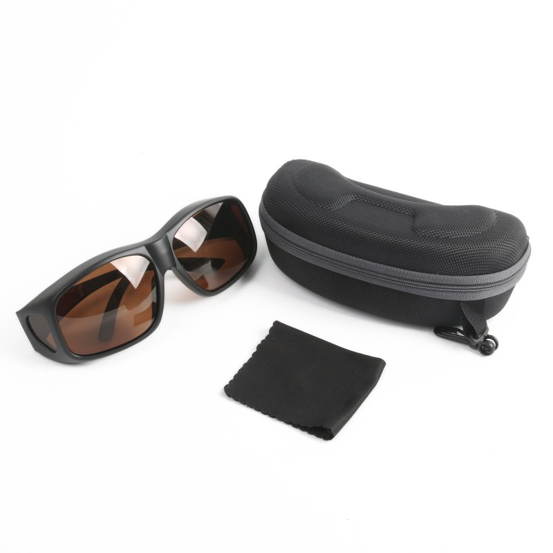 Polarized Sunglasses Eyewear Lense Cover Fit Over Brown Gray UV400