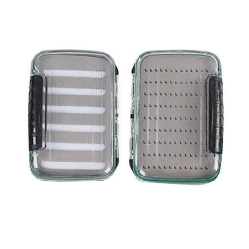 NDS Plastic Double Side Waterproof Fly Fishing Box Easy-Grip & Slit Foam Insert Clear Lid Fly Box