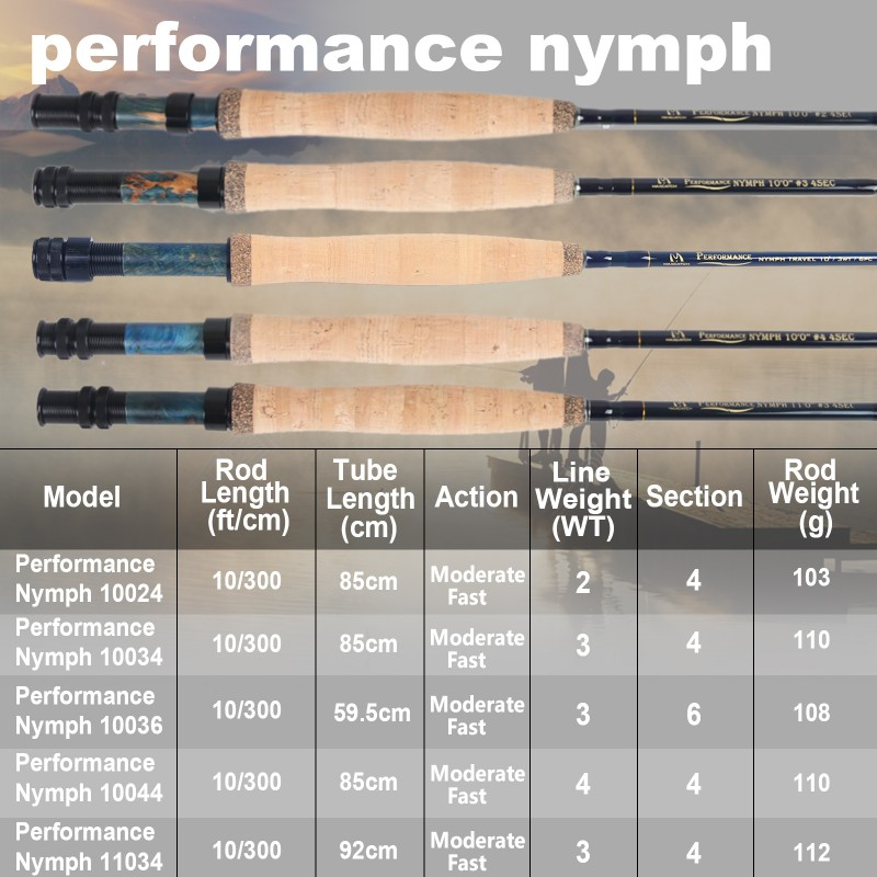 Performance Nymph IM10 Moderate Fast Action Fly Fishing Rod