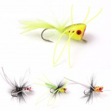 6#/8#/10# Bass Popper Flies Topwater Popper Fly Hooks Dry Flies for Bass Bluefish Carp