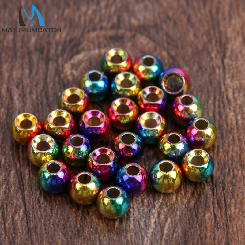 25pc Rainbow color fly tying beads 2.0/2.4/2.8/3.3/3.8/4.6mm Tungsten